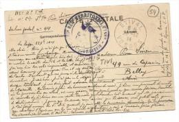 GRAND CACHET 115eREGt TERRITORIAL D'INFANT. -2e Cie- SP - 44OBLIT. ETIVAL 23.12.1914 VOSGES - - Marcophilie (Lettres)