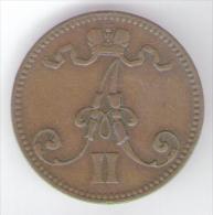 FINLANDIA-RUSSIA 5 PENNIA 1866 ALESSANDRO II - Finlandia