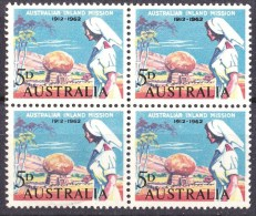 Australia 1962 Inland Mission 5d Block Of 4  - 3MH, 1MNH - Mint Stamps
