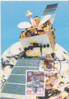 ** EUROPA - Satellite, Partie De Globe Terrestre Et Visage ** Yvrt N°1626 Carte Maximum MONACO 1988 - Maximum Cards