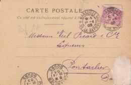 1903 - MOUCHON PERFORE De La COMPAGNIE TRANSATLANTIQUE Sur CARTE COMMERCIALE De MARSEILLE - France