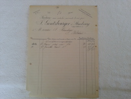 F. GENTZBOURGER À STRASBOURG ( 67000). FACTURE DATÉE 1904 . JUDAICA? - Textile & Clothing
