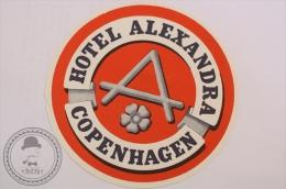 Hotel Alexandra, Copenhagen - Denmark - Original Vintage Luggage Hotel Label - Sticker - Hotel Labels