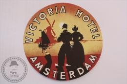 Victoria Hotel, Amsterdam - Holland - Original Vintage Luggage Hotel Label - Sticker - Etiquetas De Hotel