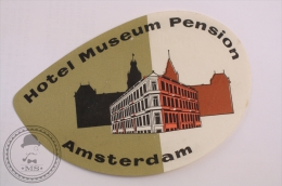 Hotel Museum Pension, Amsterdam - Holland - Original Vintage Luggage Hotel Label - Sticker - Etiquettes D'hotels