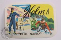 Holms Hotel, Geilo  - Norway - Original Vintage Luggage Hotel Label - Sticker - Hotel Labels
