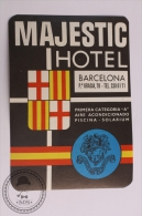 Majestic Hotel, Barcelona - Spain - Original Vintage Luggage Hotel Label - Sticker - Hotel Labels