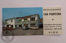 Hotel Restaurant Can Pamplona, Vich  - Barcelona - Spain - Vintage Citroen & Seat 600 - Luggage Hotel Label - Sticke - Hotel Labels