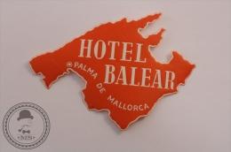 Hotel Balear, Palma De Mallorca - Spain - Original Vintage Luggage Hotel Label - Sticker - Hotel Labels