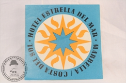 Hotel Estrella Del Mar - Marbella, Costa Del Sol - Spain - Original Vintage Luggage Hotel Label - Sticker - Etiquetas De Hotel