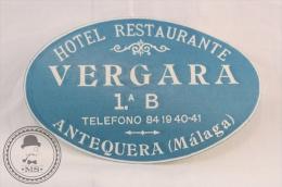 Hotel Restaurant Vergara - Antequera, Malaga - Spain - Original Vintage Luggage Hotel Label - Sticker - Adesivi Di Alberghi
