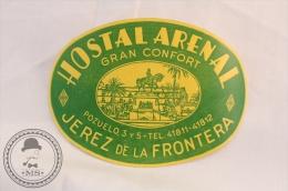 Hotel Arenal, Jerez De La Frontera - Spain - Original Vintage Luggage Hotel Label - Sticker - Etiquetas De Hotel