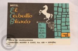 Hotel El Caballo Blanco, Cadiz - Spain - Original Vintage Luggage Hotel Label - Sticker - Etiquetas De Hotel