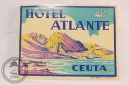 Hotel Atlante, Ceuta - Spain - Original Vintage Luggage Hotel Label - Sticker - Etiquetas De Hotel