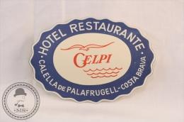 Hotel Restaurante Gelpi - Calella De Palafrugell - Spain - Original Vintage Luggage Hotel Label - Sticker - Etiquetas De Hotel