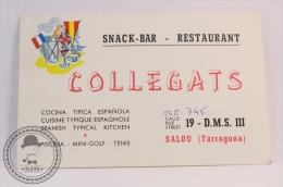 Snack Bar Restaurant Collegats, Salou - Spain - Original Vintage Luggage Hotel Label - Sticker - Hotel Labels