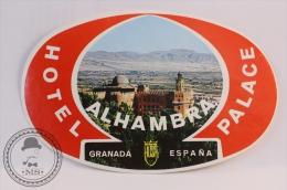 Hotel Palace Alhambra, Granada - Spain - Original Vintage Luggage Hotel Label - Sticker - Hotel Labels