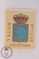 Hotel Cristina, Sevilla - Spain - Original Vintage Luggage Hotel Label - Sticker - Hotel Labels