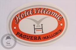 Hotel Villamie, Paguera, Mallorca - Spain - Original Vintage Luggage Hotel Label - Sticker - Hotel Labels