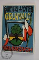Hotel Miejski, Grunwald, Walbrzych - Poland - Original Vintage Luggage Hotel Label - Sticker - Etiquetas De Hotel