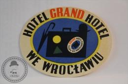 Grand Hotel We Wroclawiu - Poland - Original Vintage Luggage Hotel Label - Sticker - Etiquetas De Hotel