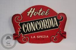 Hotel Concordia - La Spezia - Italy - Original Vintage Luggage Hotel Label - Sticker - Adesivi Di Alberghi
