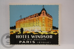 Hotel Windsor, Paris - France - Original Vintage Luggage Hotel Label - Sticker - Hotel Labels