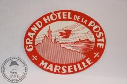 Grand Hotel De La Poste, Marseille  - France - Original Vintage Luggage Hotel Label - Sticker - Hotel Labels