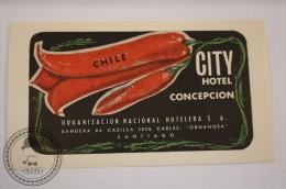City Hotel Concepcion - Chile  - Original & Rare Vintage Luggage Hotel Label - Sticker - Hotel Labels