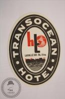 Transocean Hotel - Buenos Aires - Argentina - Original  Vintage Luggage Hotel Label - Sticker - Etiketten Van Hotels