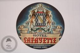Hotel Lafayette - Buenos Aires - Argentina - Original  Vintage Luggage Hotel Label - Sticker - Hotel Labels