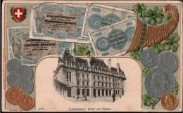 !  Alte Postkarte Lausanne, Postamt, Schweiz, Suisse, Franken, Geldscheine, Münzen - VD Waadt