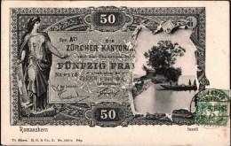 ! 1906 Alte Postkarte Romanshorn, Inseli, Banknote, Geldschein, Schweiz, Suisse, Money - Switzerland