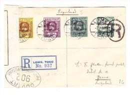 Zensur R-Brief Lome TOGO 2.2.17 Nach Bern Schweiz Mit Englische Und Deutsche Frankatur - Côte D'Or (...-1957)