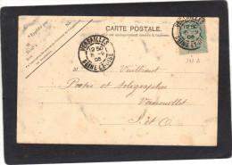 Yvert 111 Blanc Cachet  Versailles Seine Et Oise 1905 Sur Carte Postale - 1900-29 Blanc
