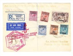 Zeppelin 5.Südamerikafahrt Britisch Marocco - P.O. Casablanca R-Brief Nach Pernambuco Brasilien - Grossbritannien (alte Kolonien Und Herrschaften)