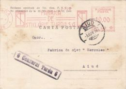AMOUNT 10, TURDA, GLASS FACTORY METERMARK, SPECIAL MACHINE STAMPS ON POSTCARD, CENSORED TURDA NR 6, 1944, ROMANIA - World War 2 Letters