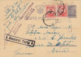 KING MICHAEL STAMPS ON PC STATIONERY, ENTIER POSTAL, CENSORED TURDA NR 4, 1944, ROMANIA - Cartas De La Segunda Guerra Mundial