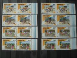 RWANDA 1990 Nr 1384/1387 PAIRS PERF. + IMPERFORATED / MNH ** / COT. 49 EUR / 1991 - Rwanda