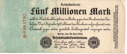 Banconota Da 5 Millionen Mark Del 1923 - 5 Millionen Mark