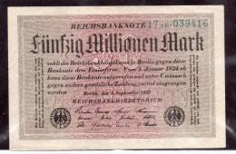 Banconota Da 50 Millionen Mark Del 1923 - [ 3] 1918-1933 : Repubblica  Di Weimar