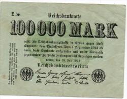 Banconota Da 100.000 Mark Del 1923 - [ 3] 1918-1933 : Repubblica  Di Weimar