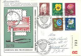"Sonder R-Brief  ""Giornata Del Francobollo, Bellinzona"" - Leipzig         1958 - Svizzera"