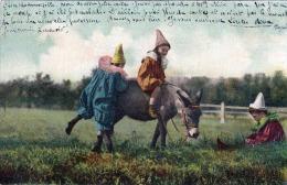 Kinder Mit Esel Spielend Auf Wiese Karte Gelaufen 1903 - Szenen & Landschaften