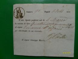 Napoli 6 Febbraio 1870 Ricevuta Su Foglio Centesimi 10 Al Signor Giuseppe Muccio - Azioni & Titoli