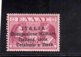 OCCUPAZIONE ITALIANA CEFALONIA E ITACA 1941 PREVIDENZA SOCIALE DEL 1939 SOPRASTAMPATO OVERPRINTED 10 LEPTA MNH SIGNED - 9. Occupazione 2a Guerra (Italia)