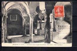 FRANCE 77.(S&M) JOUARRE .INTERIEUR CRYPTE SAINT-PAUL.VIIe. SIÈCLE .LES TOMBEAUX. CIRCULÉE 1908 - La Ferte Sous Jouarre
