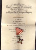 AUSTRIA  1849 Medal Silver Merit Cross Viribus Unitis -Kaiser Franz Joseph WWI - Das Silberne Verdienstkreuz  WITH PAPER - Autriche