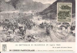 LA BATTAGLIA DI BEZZECCA 21 LUGLIO 1866, MAXIMUM CENTENARIO ,IN CORSO PARTICOLARE N.499, A FIRMA DEL SINDACO DI BEZZECCA - Maximum Cards