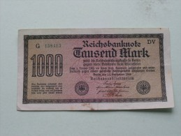 TAUSEND MARK Berlin 1922 / N° G 158413 - DV   ( For Grade, Please See Photo ) ! - [ 3] 1918-1933 : Repubblica  Di Weimar